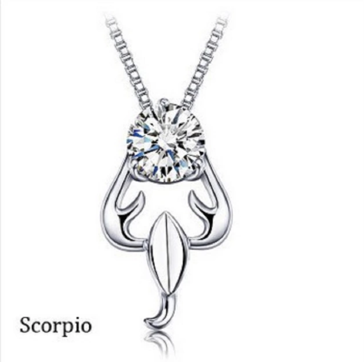 Womens Jewelry Zodiac Signs 12 Constellations Crystal Pendant Necklace 581