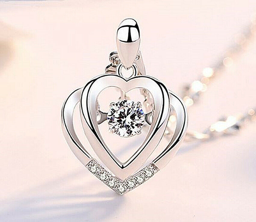 Jewellery - Double Heart Pendant 925 Sterling Silver Chain Necklace Womens Jewellery Gift UK