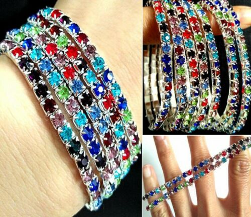 50pcs Multi-Color Beautiful Bright Elastic Full Circle CZ Bracelets Wristbands