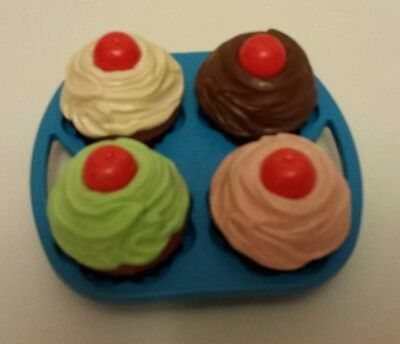 Vintage Fisher Price Fun w Play Food 4 Little Tikes Party Time Dessert Cupcakes