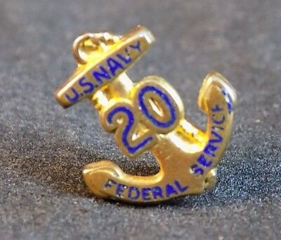 USN US NAVY 20 YEARS FEDERAL SERVICE ANCHOR Gold Lapel COLLAR Pin