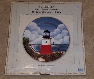 "By the Sea Serving Platter Chop Plate 16"" David Carter Brown Sakura Melamine Red"