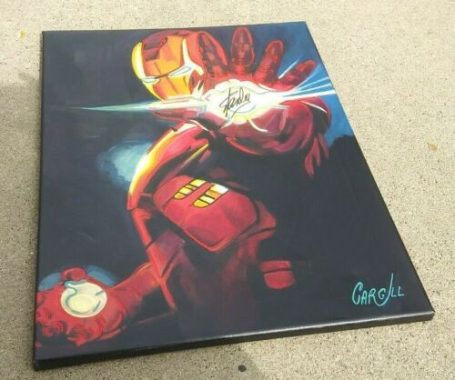 STAN LEE Signed Ironman Pop Art Canvas 18x24 Cargill Painting PROOF