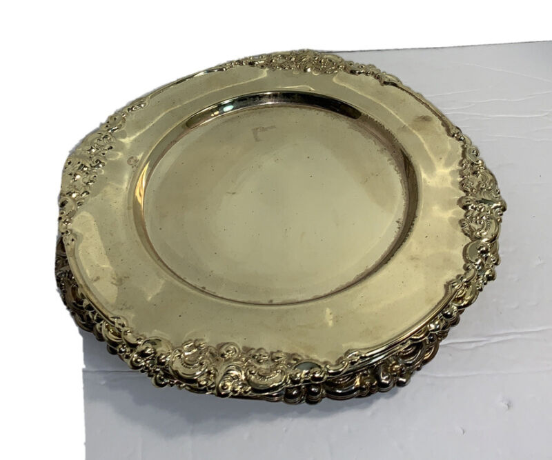 Vintage Mid Century Baroque by Godinger Lot of 7 Gold Plated Charger Plates