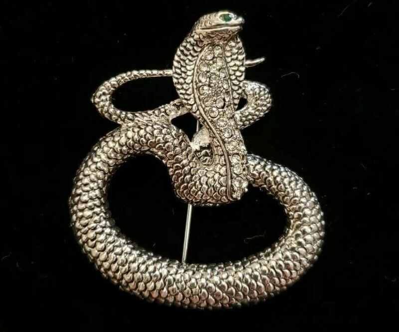 Snake serpent cobra coiled reptile brooch pin rhinestone silver tone green eyed