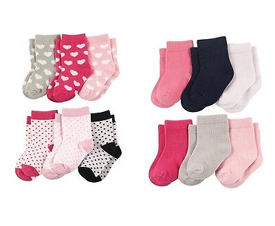 LUVABLE FRIENDS 6-PACK BABY GIRLS COLORED CREW SOCKS 0-6 6-12 12-24 MONTHS NEW