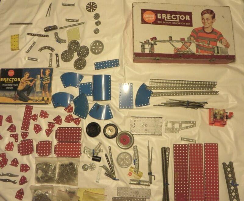 Vtg -2 Gilbert w/Metal Case & eitech GERMAN Erector / Construction Sets - PARTS+