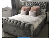 4ft6 double silver crushed velvet bed