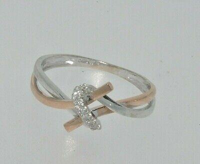 9ct white & rose gold diamond twist ring size M