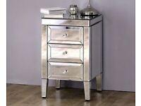 2x Francesca 3 Drawer Bedside Cabinet