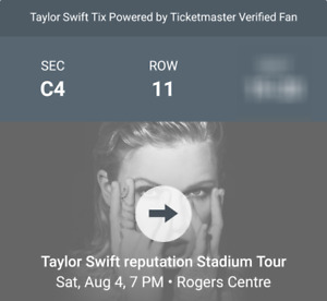 Taylor Swift Reputation Concert Floor Seats Section C4