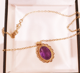 Beautiful 9ct Rose Gold 18 inch Amethyst Necklace - See Details