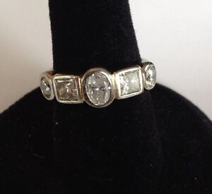 Ladies 14kt white gold five stone ring