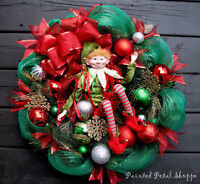 Whimsical Christmas Elf Wreath/Red & Green Holiday Wreath