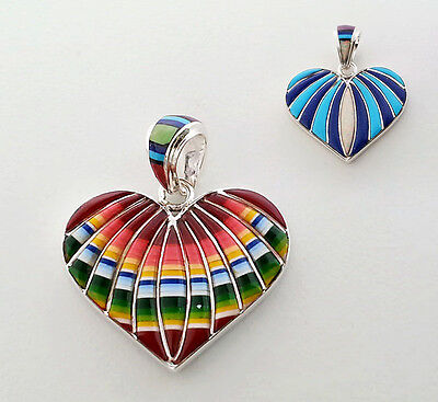 AWESOME HANDMADE TURQUOISE/MULTICOLOR  INLAY .925 STERLING SILVER HEART PENDANT