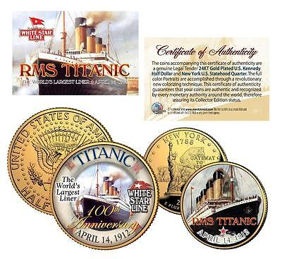 TITANIC RMS Ship *100th Anniversary* 24K Gold U.S. Mint Legal Tender 2-Coin Set 24k Gold Coin Mint
