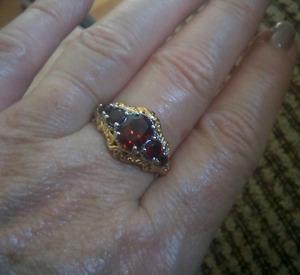 Sterling silver & 18 k gold garnet ring size 8
