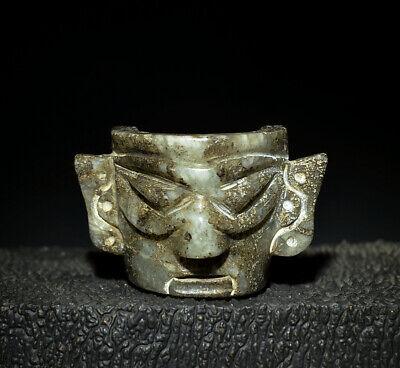 Fine Chinese Sanxingdui Culture Ancient Jade Carving God Man Mask Talisman 2.08