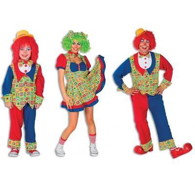 Clown Junge Kinder Mädchen Damen Herren Anzug Kostüm Clownkostüm Zirkus Hut (Mädchen Zirkus Clown Kostüm)
