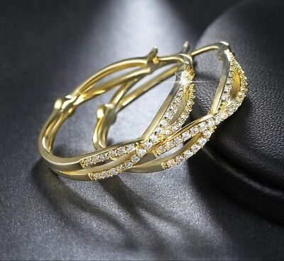 Exquisite gold plated cubic zirconia Crystal's crossover 1 inch hoop earrings (1 Inch Gold Hoop Earrings)