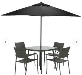 Rattan 4 Seater Dining Set - Grey
