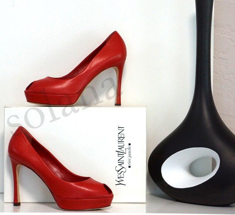 Yves Saint Laurent Palais 80 Red Leather YSL Pump Platform High Heel Shoes New 9