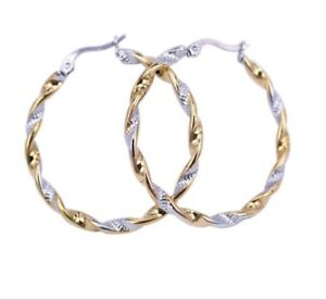 Classic two tone gold plated stainless steel spiral 11/2 inch hoop earrings