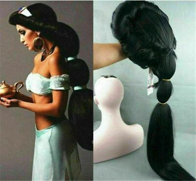 Details about  Anime Aladdin Jasmine princess Long Black Anime Wig /Cosplay/ wig](Aladdin Wig)
