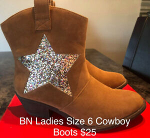 BRAND NEW LADIES SIZE 6 COWBOY BOOTS SUEDE, SO CUTE