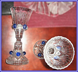 GORGEOUS VINTAGE CRYSTAL BLUE CANDLE HOLDERS