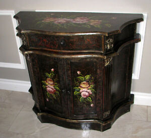 RUSTIC ORNATE HAND PAINTED FLORAL ACCENT CABINET