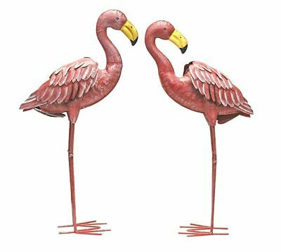 Pink Metal Flamingo Statues Garden Lawn Yard Decor Sculptures Stakes Ornaments