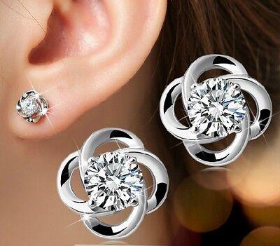 925 Silber Zirkonia Blume Ohrschmuck kristall Ohrstecker Ohrringe