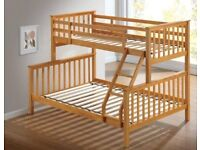 Brand new trio wooden bunk bed available with mattress is for now available with fast delivery