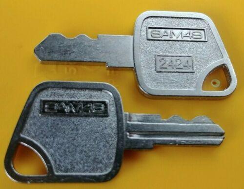 Sam4s Pair 2424 Cash Drawer ECR Register Keys, Fits CRS & Sam4s ER SPS NR Series