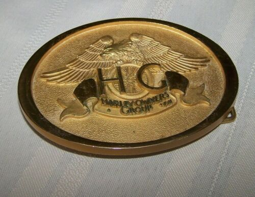 Vintage 1983 Harley Davidson HOG Brass Belt Buckle made by Jostens