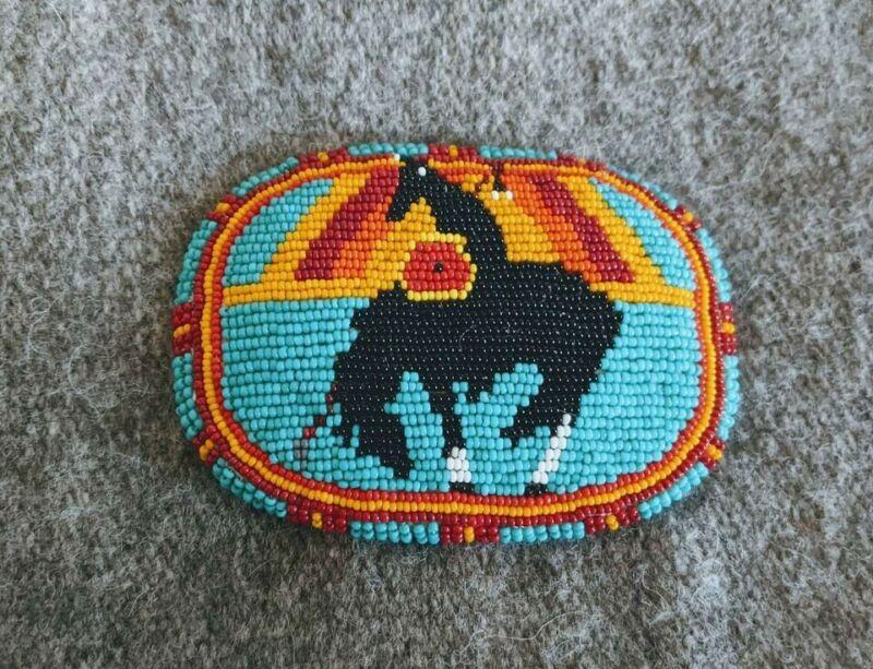 Native American beaded belt buckle