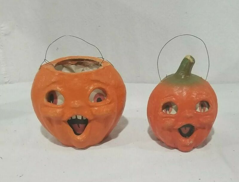 Antique Halloween Pumpkin Jack-o-lantern Candy Container Double Sided TWO