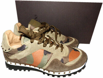 VALENTINO GARAVANI Rockstud Camo Trainer Sneakers Brown Gold Studs Shoes 40
