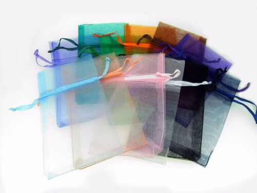 """12 Pcs 3"""" X 5 1/2"""" Organza Pouch Bags Mixed Colors Pre - Packaged"""