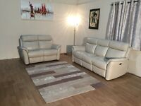 Relax Station Revive cream leather electric recliner 3+2 seater sofas