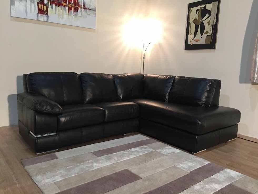 Exdisplay Primo Black Leather Corner Sofa Chrome Feet In - Black leather corner sofa