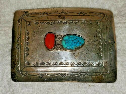 SILVER BELT BUCKLE w TURQUOISE AND CORAL SOUTHWESTERN