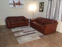 Natuzzi Sensor tan brown leather standard 3 seater sofa and electric recliner 2 seater sofa