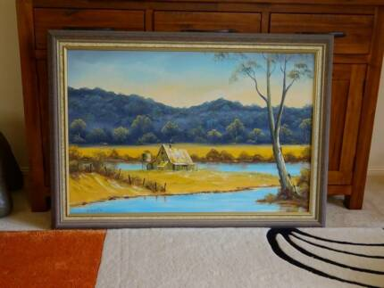 original oil painting Homestead by the River