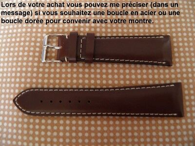 Kalb Box (22 mm Armband Kalb Box Braun Weiße Naht Großartige Hochwertige Verarbeitung)