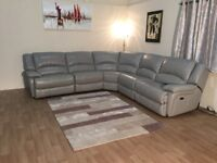 Ex-display Ronson feather grey leather electric recliner corner sofa