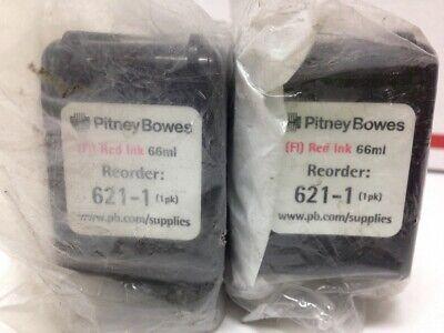 Pitney Bowes 2 Pack 621-1 New Oem Flourescent Red Postage Meter Ink Cartridges