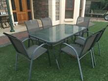 7 Piece Outdoor Setting Glass Top Table & 6 Chairs Oakden Port Adelaide Area Preview