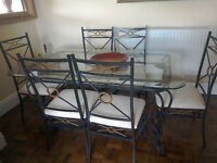 Glass Top, Iron Frame Dining Table + 6 Chairs